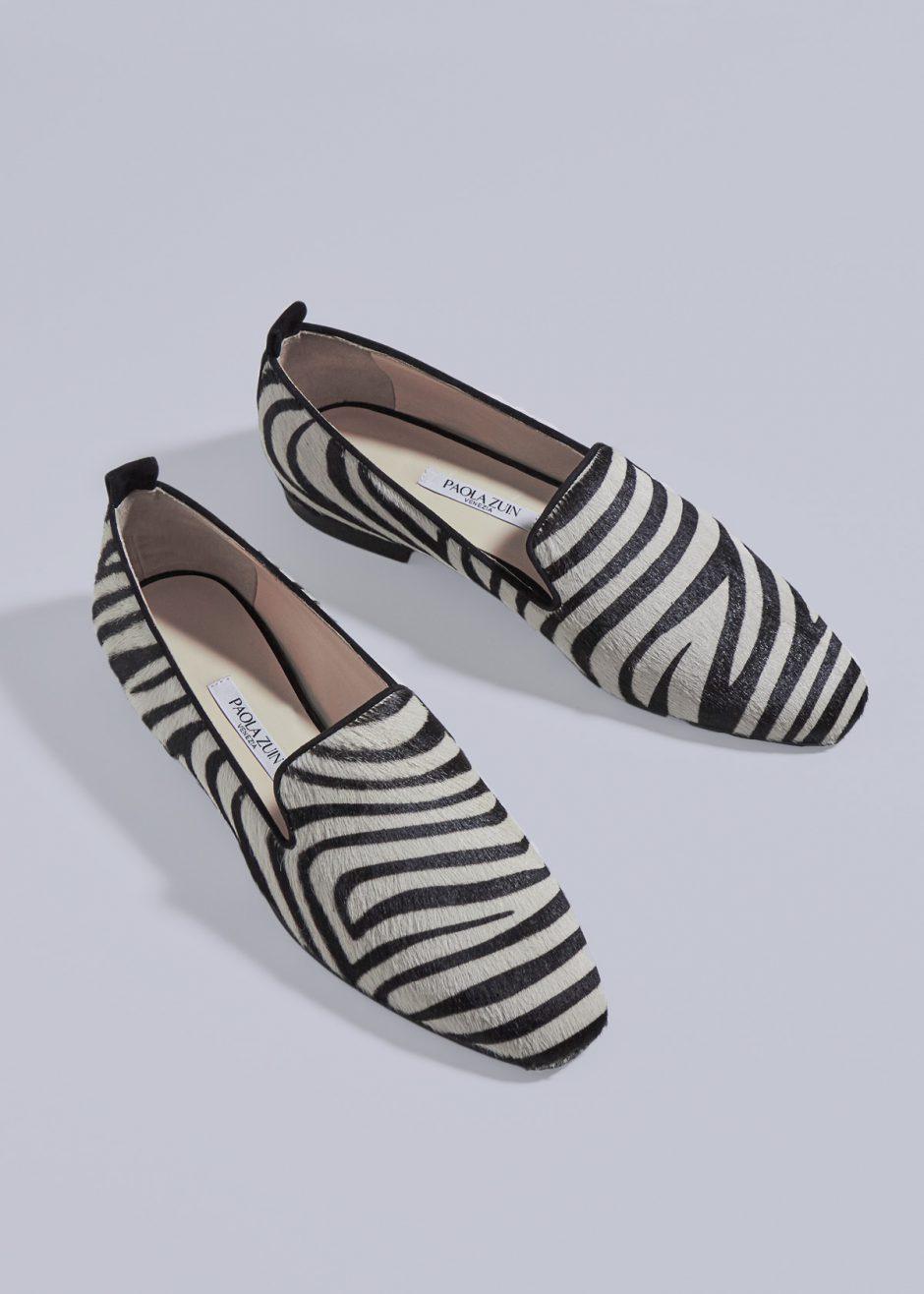 Vicky – Ballerina in suede in cavallino zebrato nero