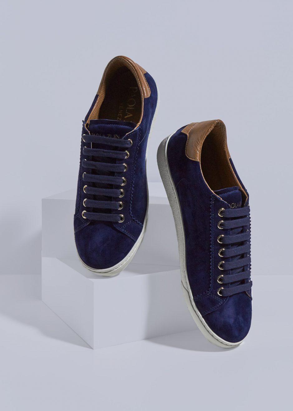 Jackie – Sneakers in pelle suede effetto cachemire blu