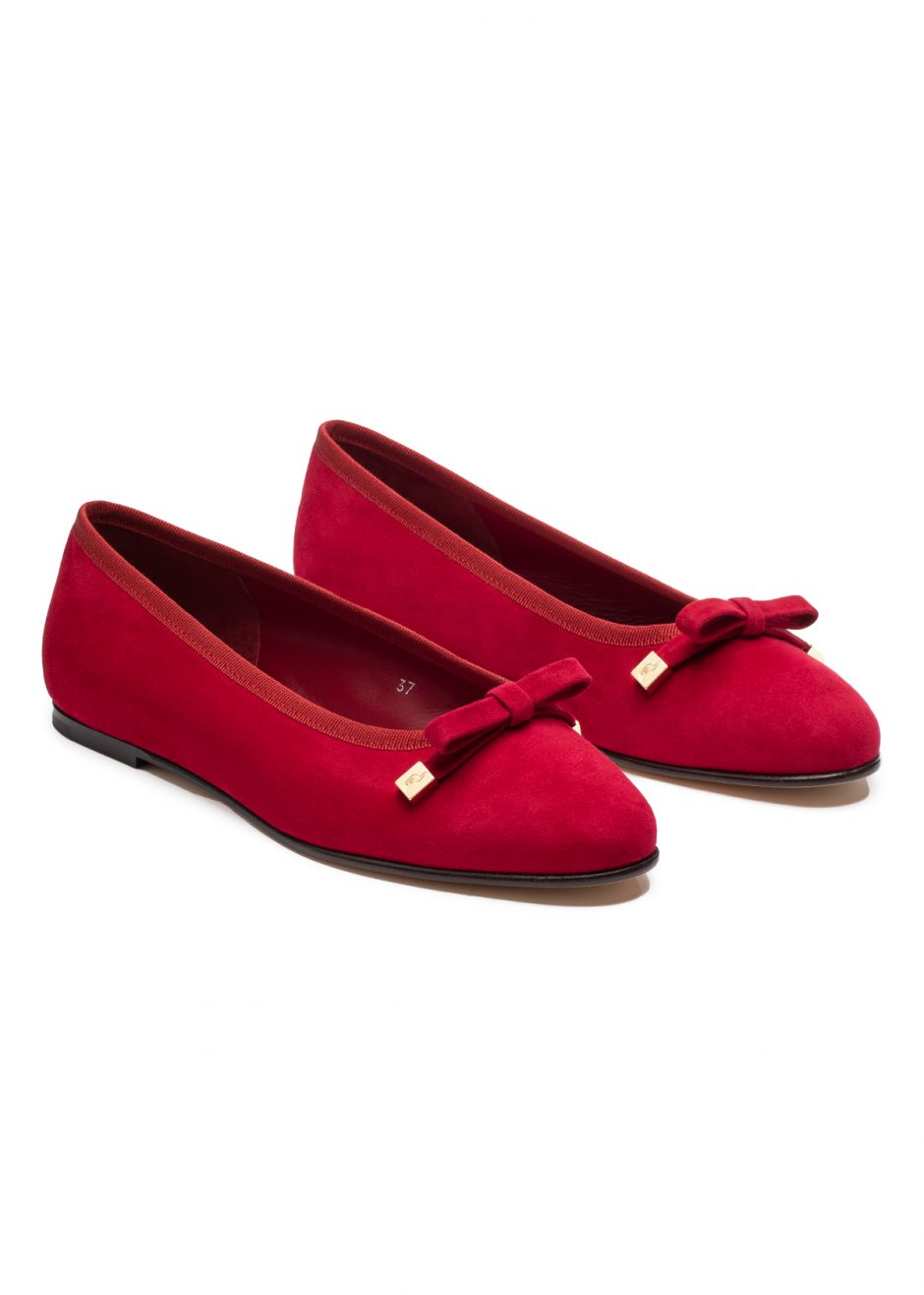 Audrey – Ballet flat red kidskin suede with suede bow