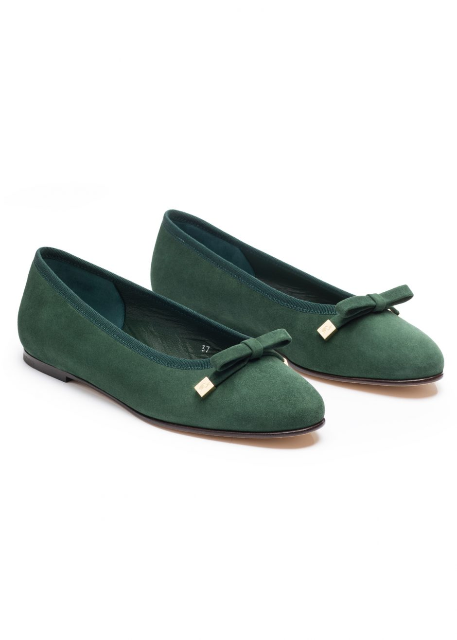 Audrey – Ballet flat green kidskin suede with suede bow