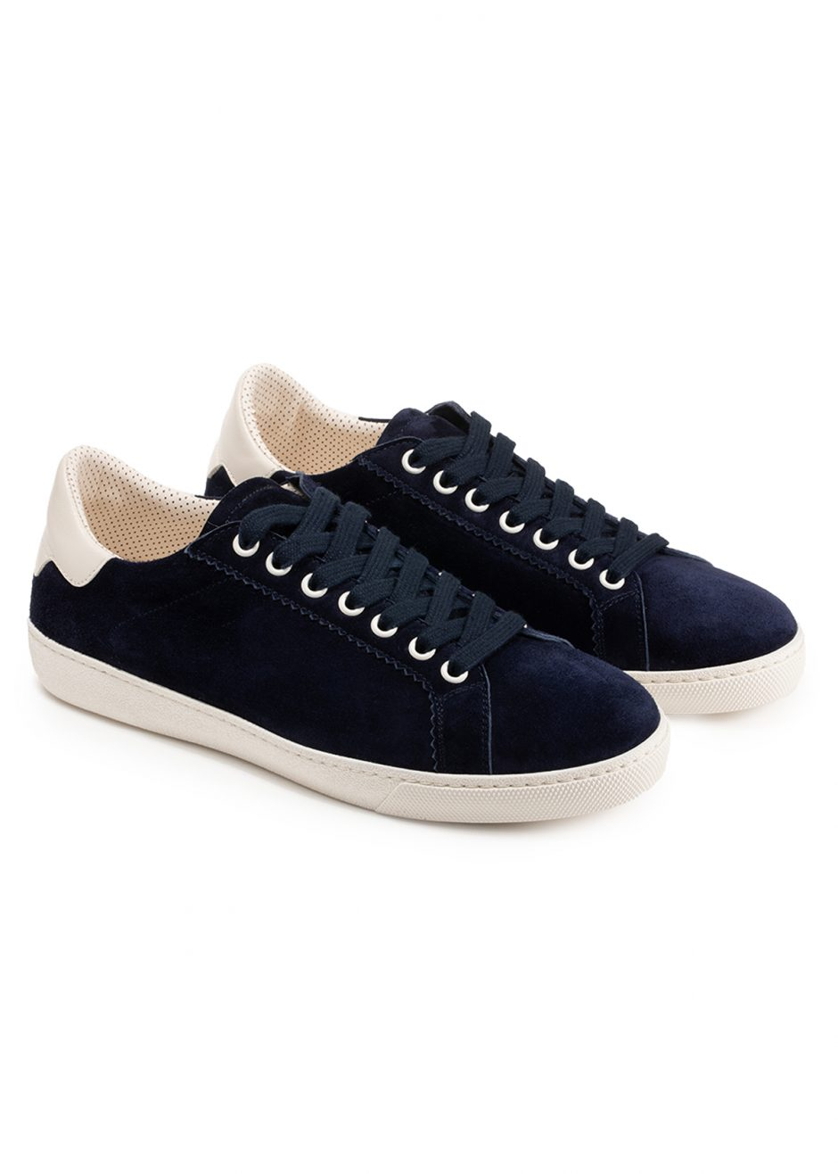 Jackie – Sneakers blue cachemire-effect suede leather with white profile
