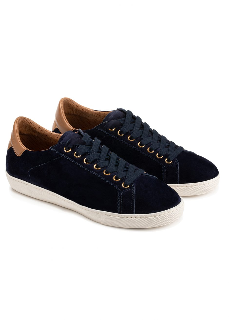 Jackie – Sneakers blue cachemire-effect suede leather with cognac profile