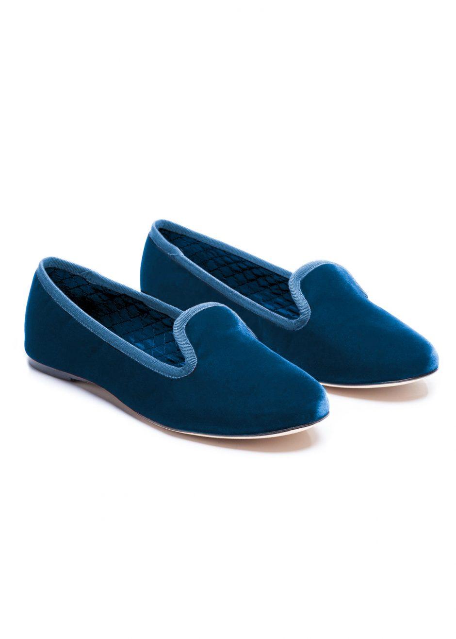 Casanova – Slipper avio blue velvet