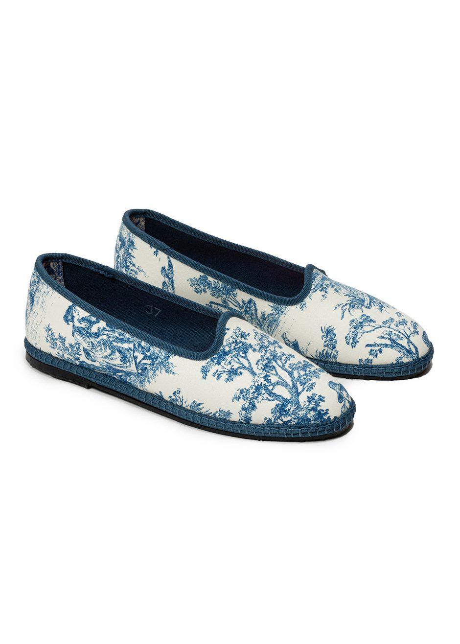 Peggy – Furlana avio blue wildflower fantasy cotton