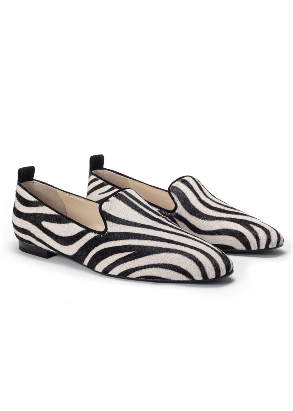 Vicky – Ballet flat striped pony skin suede with black profile