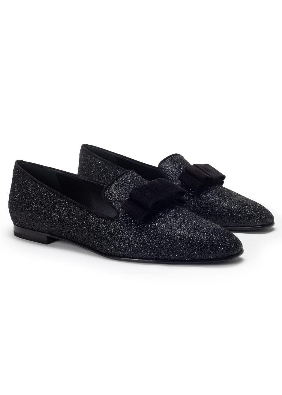 Vicky – Ballerina in raso nero glitter