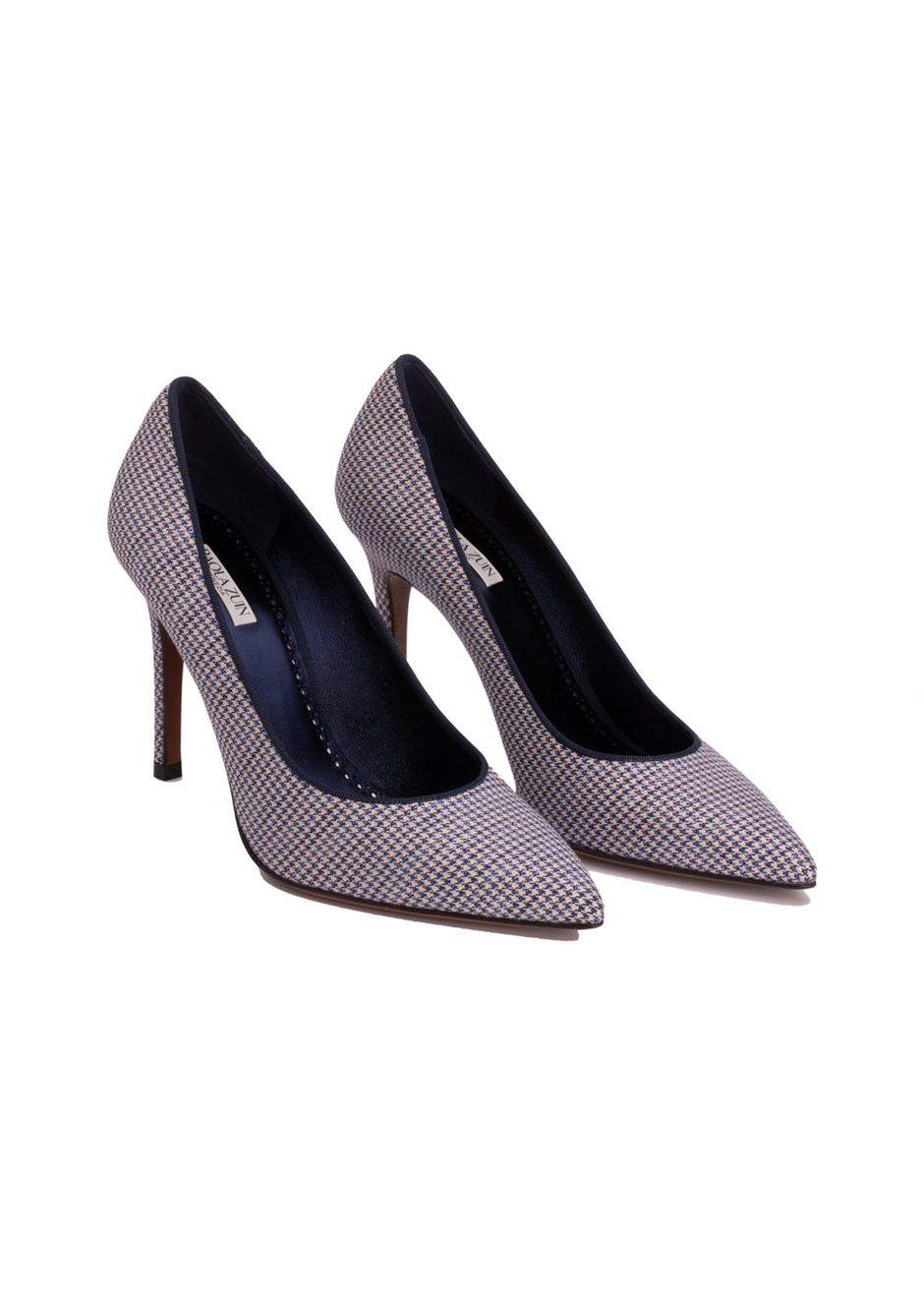 Asya90 – Pumps in starry micro houndstooth fabric