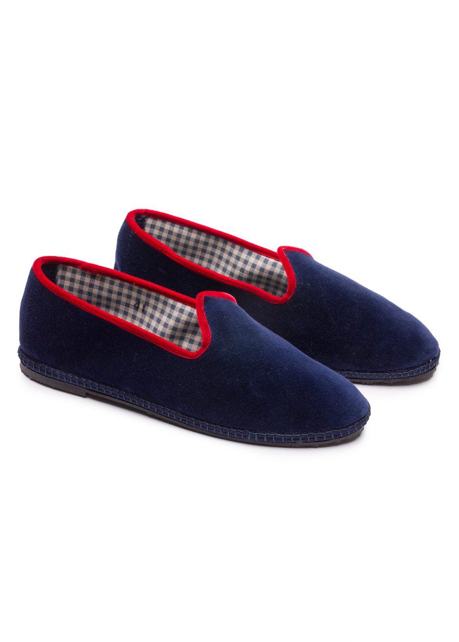 Gatsby – Furlana in velluto blu con profilo rosso