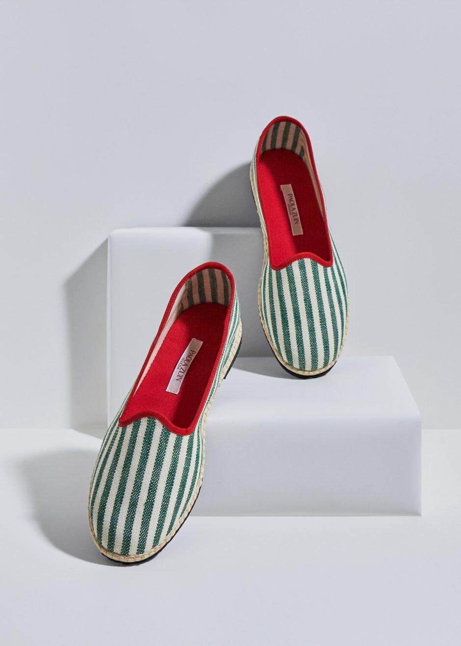 Daisy – Furlana green striped linen