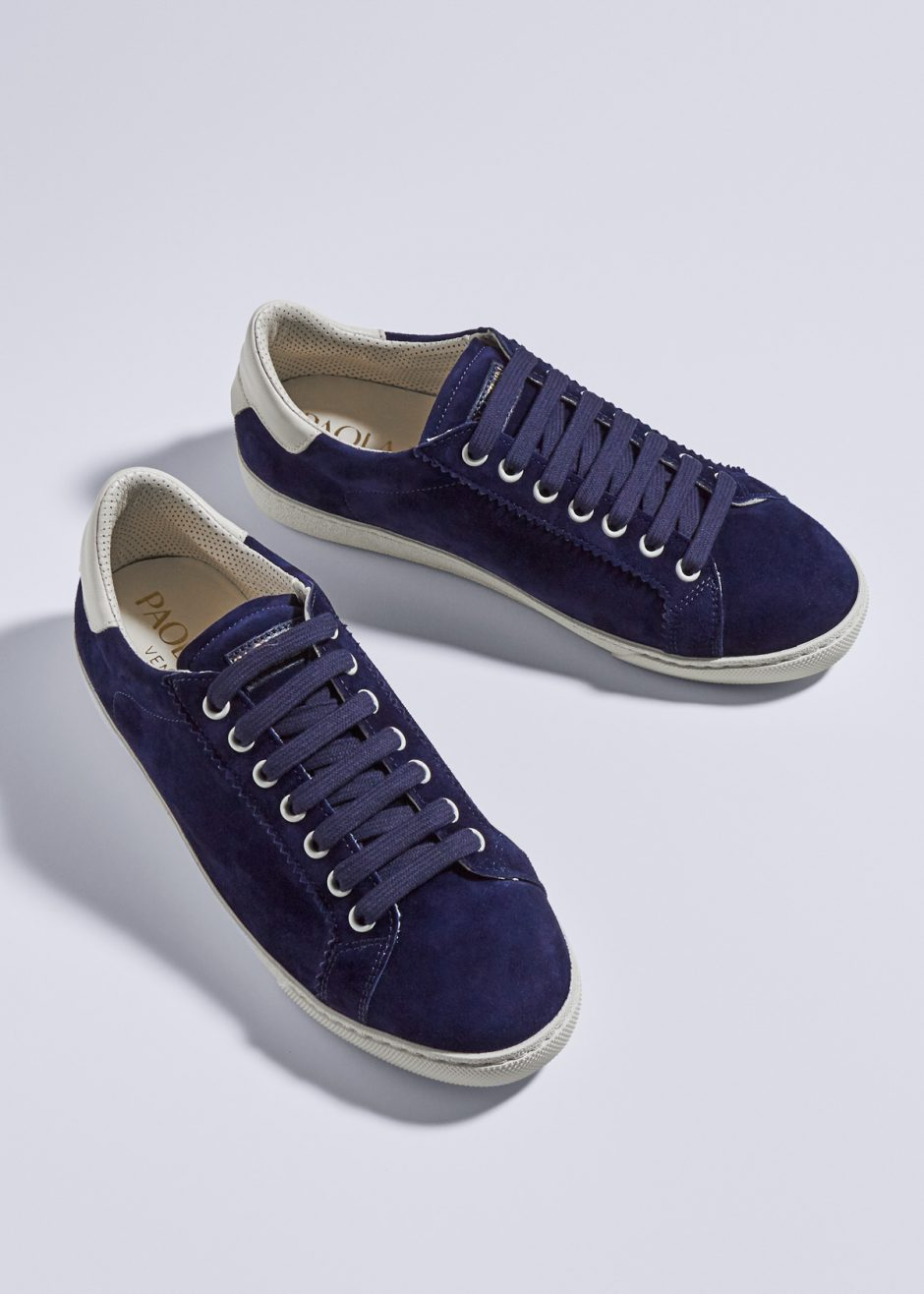Jackie – Sneakers blue cachemire-effect suede leather