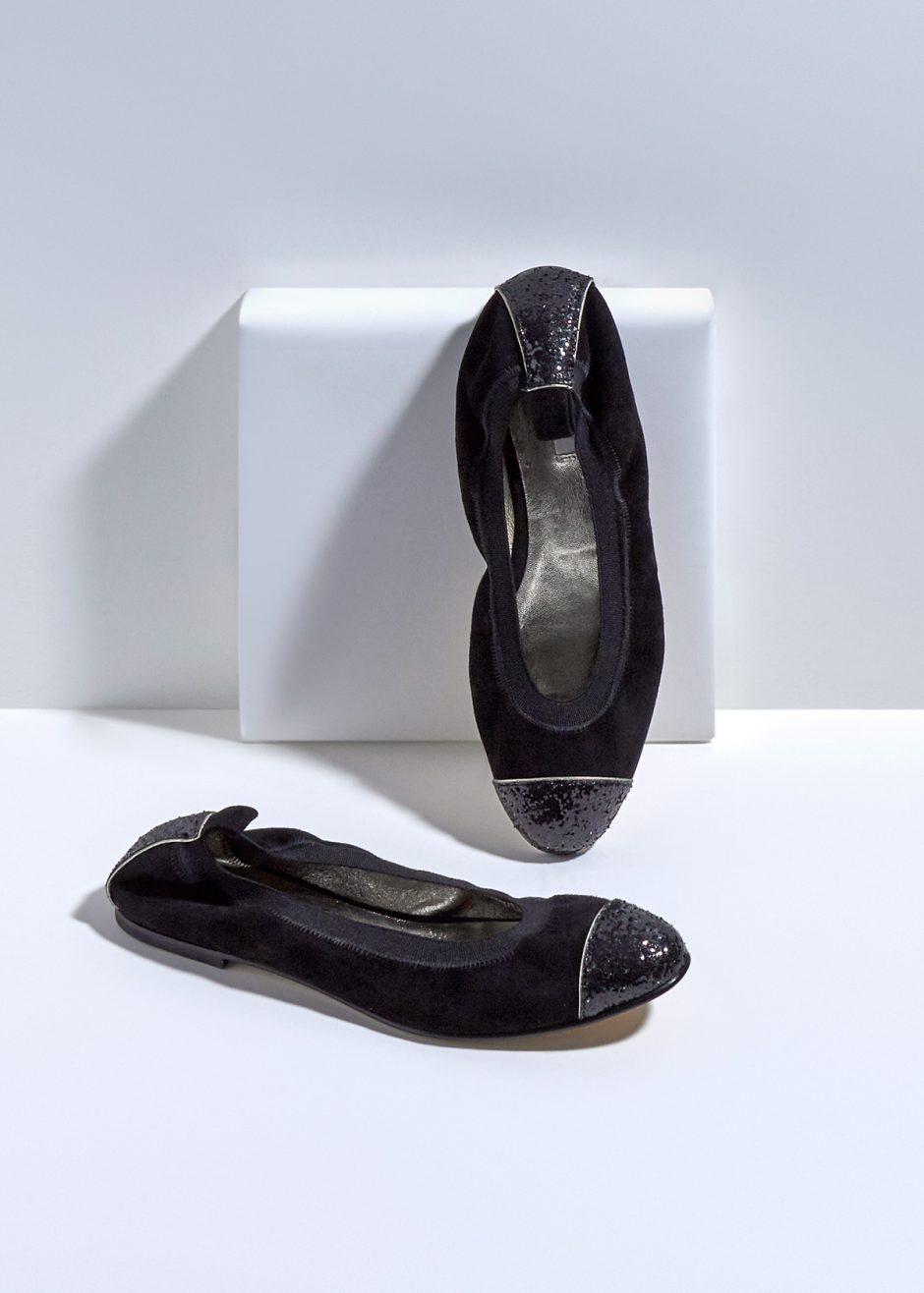 Kate – Ballet flat black kidskin suede with black glitter toe cap and heel