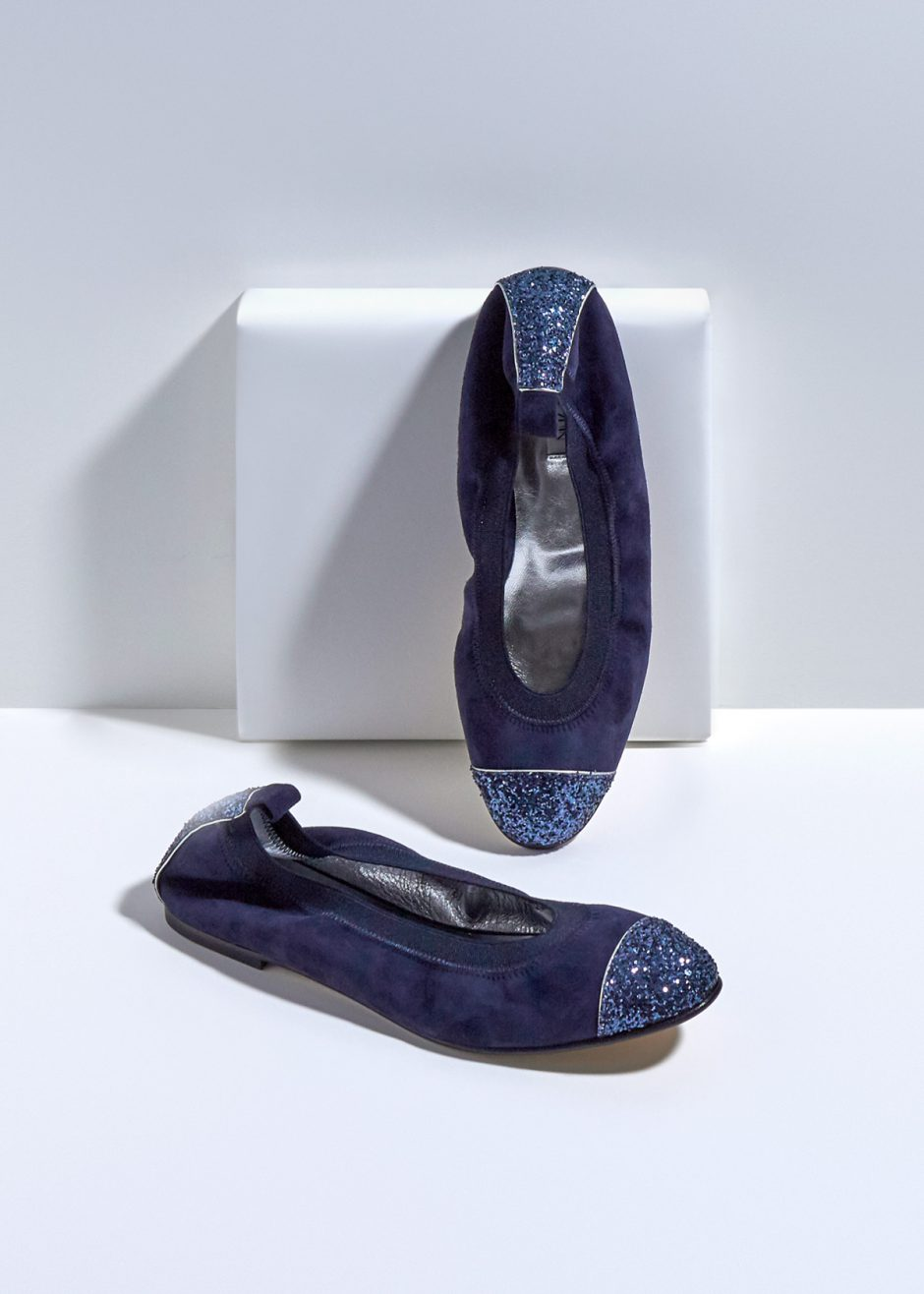 Kate – Ballet flat blue kidskin suede with blue glitter toe cap and heel