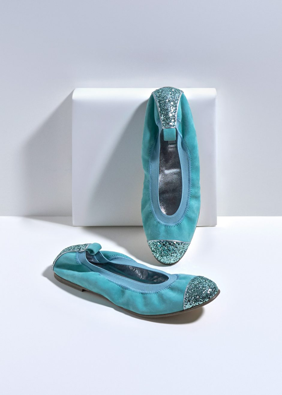 Kate – Ballet flats turquoise kidskin suede with turquoise glitter toe cap and heel