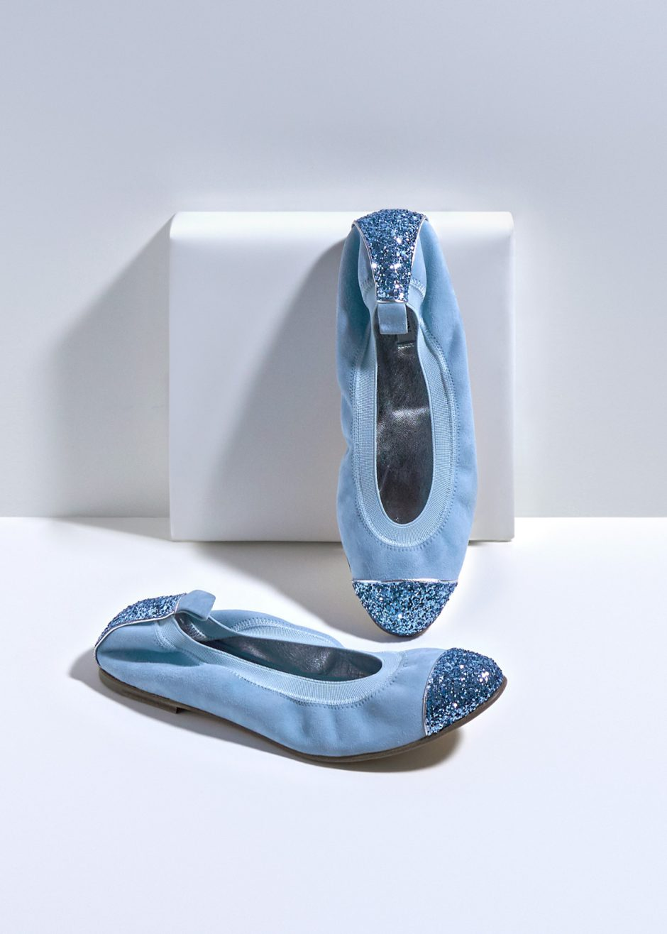 Kate – Ballet flat sky blue kidskin suede with jeans glitter toe cap and heel