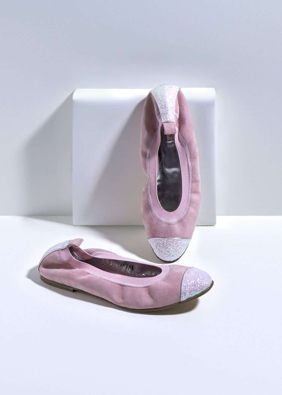 Kate – Ballet flat pink kidskin suede with pink glitter toe cap and heel