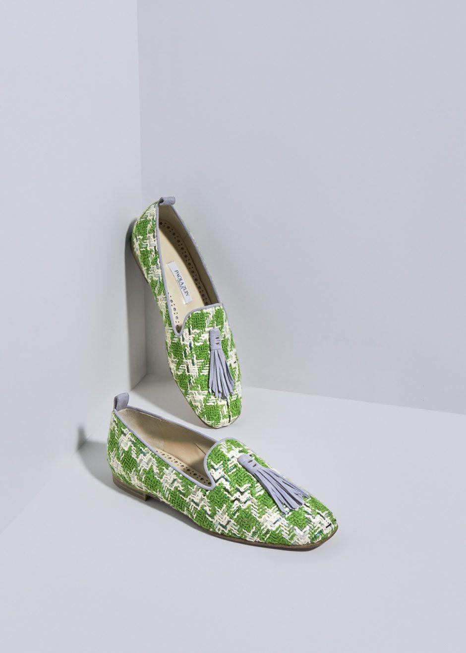 Sveva – Ballerina in pied de poul verde/avorio e nappina in suede grigio