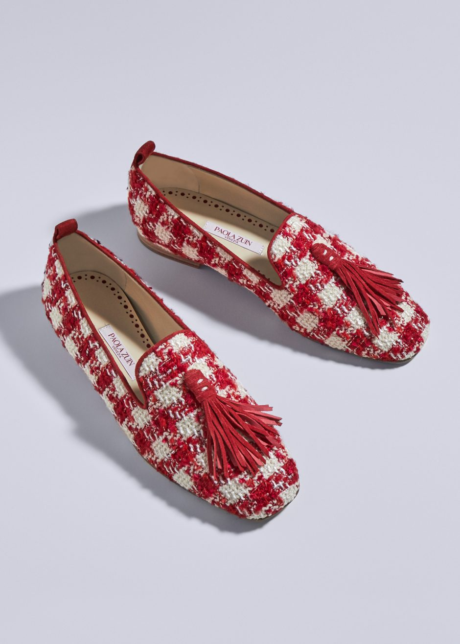 Sveva – Ballet flat Red/ivory hondstooth with red suede tassel