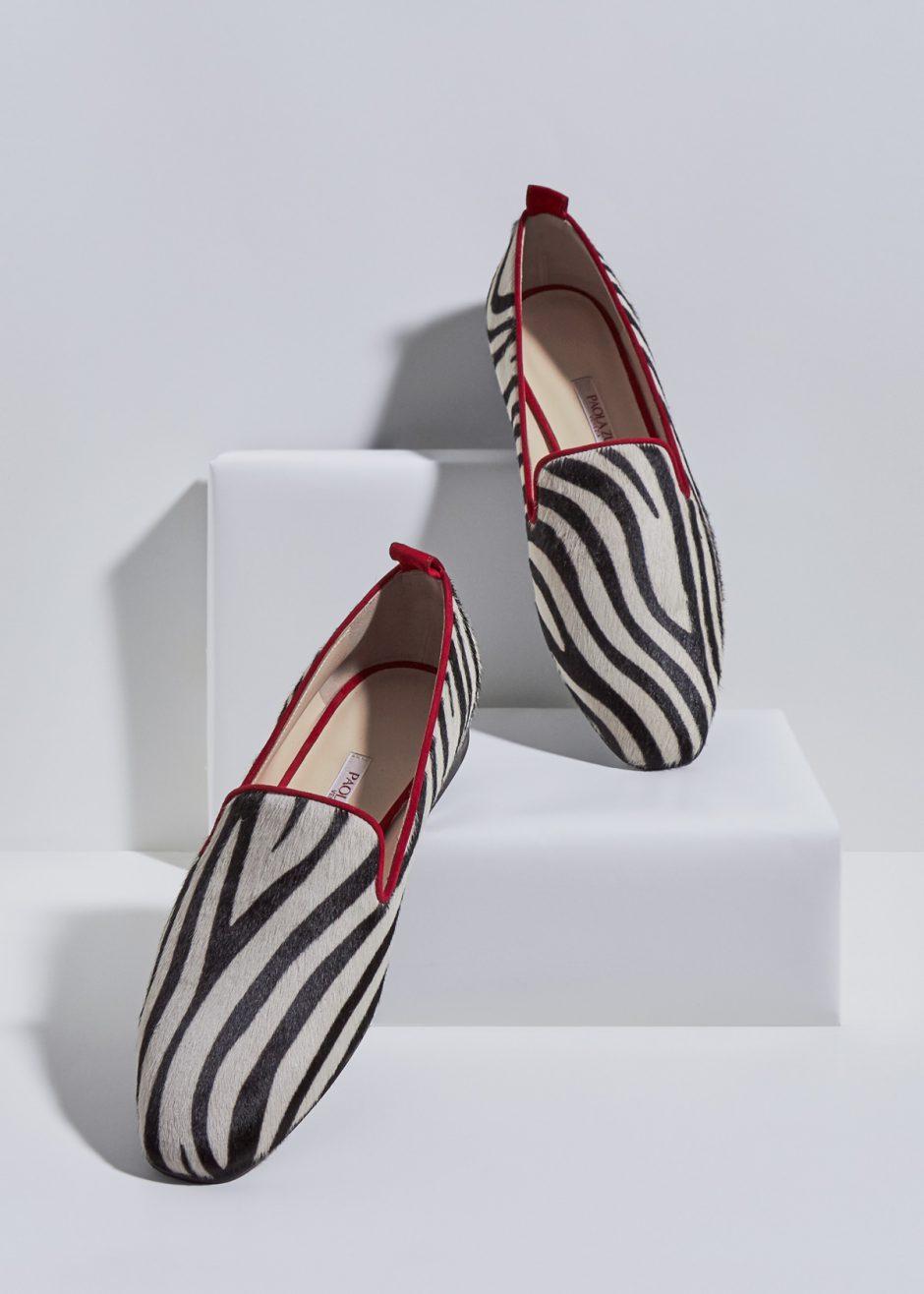 Vicky – Ballerina in suede in cavallino zebrato rosso