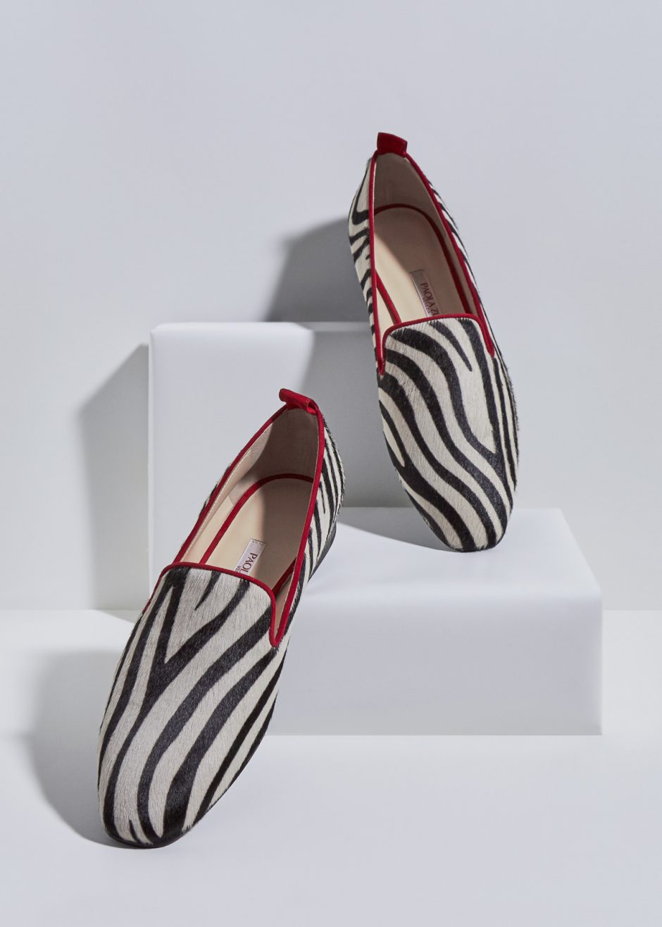 Vicky – Ballet flat striped pony skin suede with red profile